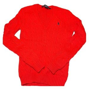 Red Polo cable knit sweater